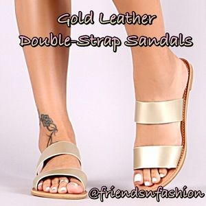 Matte Gold Leather Sandals! NEW!
